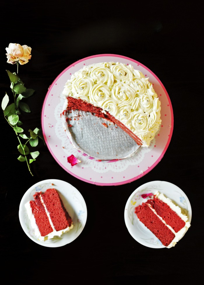 Red Velvet Rose Cake with Cream Cheese Frosting