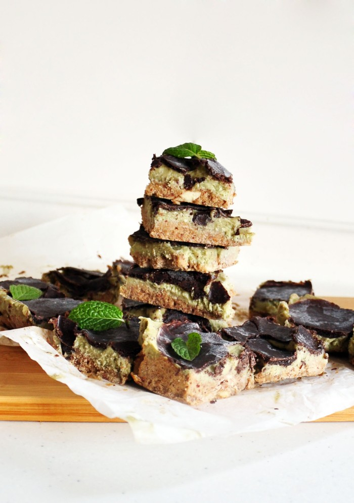 Chocolate-Covered Mint Avocado Banana Ice Cream Squares (Clean)