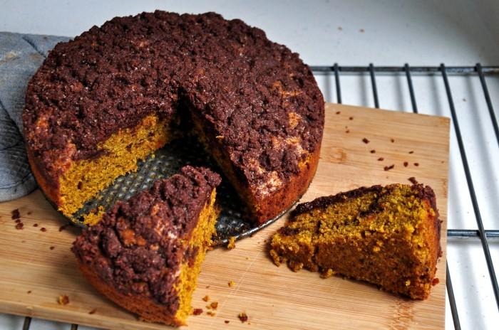 Pumpkin Dark Chocolate Crumb Cake (Cheat)